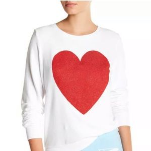 NWT Wildfox Baggy Sparkle Heart Sweater XS